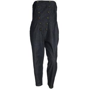 Blue Denim Strapless Button Detail Jumpsuit NEW